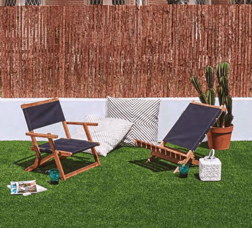 Terraza con valla de cañizo
